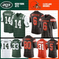 marrones camiseta 73 al por mayor-Cleveland Best Browns New York Jersey Jets 14 Sam Darnold 6 Baker Mayfield 80 Jarvis Landry 33 Jamal Adams 12 Joe Namath 73 Joe Thomas