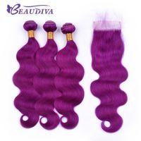 ingrosso capelli remy colorati umani-Beau Diva Pre colore viola dei capelli Bundle Con chiusura del merletto dell'onda del corpo di Remy umani brasiliani fasci di capelli con chiusura