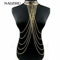 золотые чокеры для женщин оптовых-2017 Gold Color Necklace Women Punk style Collar Choker necklace Multilayers tassel Hollow out body women