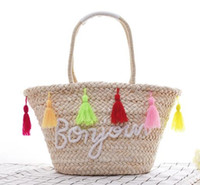 Wholesale small beach buckets resale online - 2018 Colorful Large Beach Bags Luxury Designer Straw Bag Women Handmade Pom Handbags Summer Travel Bag