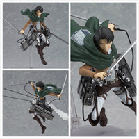 ingrosso figure d'azione di titan attacco-Eco-Friendly Anime Attack On Titan Eren Mikasa Ackerman Levi / Rivaille Figma Action Figure Toy Model