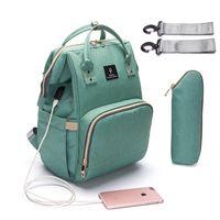 Wholesale baby travel kits - Baby Diaper Bag USB Interface Large Capacity Waterproof Nappy Bag Kits Maternity Travel Backpack Nursing Handbag Baby Care Bag for Stroller