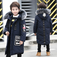 75e1a4bf4c9 -30 Boys Winter Coat Big Boys Down Jackets Long Parkas for Teenage Boy Real Fur  Hooded Age 8 9 10 11 12 13 14 15 16 years Y18102607