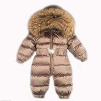 мальчики лет оптовых-1~5 Years Russian Newborn Baby Girls Winter Raccon Real Fur Down Romper Boys Infant Onesie Snowsuit Skisuit Kids Catsuit