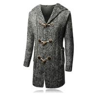 Wholesale winter wool coat buckles - Men's Long Knitwear Trench Coat Autumn Winter Casual Long Sleeves Men Hooded Clothing Horns Buckle Men' Cardigan Plus Size 8801