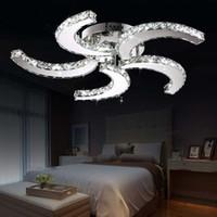 camas led venda por atacado-luzes de cristal moderna LED de cristal do candelabro Led fan pendente ceilng Luzes para casa sala de estar quarto com cama de sala de estudo