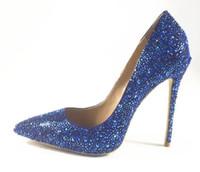 ingrosso scarpe alte in bling blu-Nuovo arrivo blu borchiato cristallo slip-on tacchi alti scarpe sexy scarpe a punta delle donne pompe bling Bling donne partito scarpe