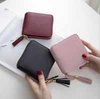 Wholesale hip hop style girl - 2018 Best Selling! Genuine Leather Women Short Wallet Zipper Purse Short Handbag 3 Colors For Girl Lady Nice Gift Money Bag Cheap Wholesale
