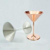 içme gözlük flaşı toptan satış-Marki gül altın gümüş Paslanmaz Çelik Kokteyl Bardak Kırmızı Şarap Bardaklar Düğün Şampanya bardağı Martini Kupası Kadehler wn218A