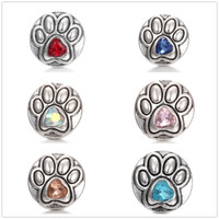 20pcs lot Charm Dog footprints Crystal 18mm snap Button Antique Silver Rhinestone diy Jewelry Retro Metal Ginger Snap fit Bracelet Necklace