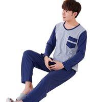 erkek pamuklu pijama takımları toptan satış-Erkekler Pijama Uzun kollu Sonbahar Kış Erkek Pijama Erkekler Set Için Set Erkekler Saf Tam Pamuk Pijama Pijama Suit