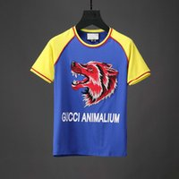 Wholesale Fashion Clothing Summer Youth - Summer Fashion Wolf Applique Letters Printed Mens Designer Brand Short-sleeved Men's Clothing Youth T-shirt T Shirt For Tshirts
