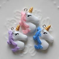 ingrosso resine flatback-40 pezzi charms in resina di unicorno per creazione di artigianato, perline di melma unicorno Mix assortimento fai da te Flatback Flatback resina bottoni Scrapbooking