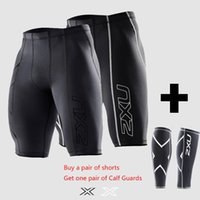 Wholesale Men S Tight Running Shorts - new Compression Men Black Tights Shorts Gym Outdoor sports Polyester lycra Bodybuilding Mens Basketball+a FREE Pair Leggings