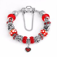Wholesale rhodium spacer beads resale online - Women DIY Jewelry Red Rhinestone Beads Glass Bead Charms Peach heart pendant Silver Flower Charm Spacer Fit Bracelet