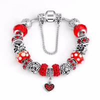 персиковый шарм серебристый оптовых-Women DIY Jewelry Red Rhinestone  Glass Bead Charms Peach heart pendant Silver Flower Charm Spacer Fit Bracelet
