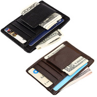 Wholesale Man Thin Wallet - Mini Mens Leather Money Clip Wallet With Coin Pocket Card Slots Thin Purse Man Business Magnet Hasp Card Holder Money Clip
