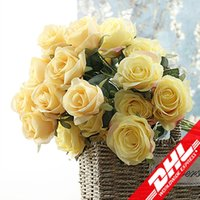 Wholesale Valentine Bouquets - Flone 3 Heads French Rose Branch Artificial Silk Flowers Fake Flower Bouquet DIY Wedding Home Party Decor Valentine Gifts Floral