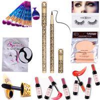 Wholesale Halloween Mascara - Makeup Sets Tool Make up Brushes Mink Eyelash Red Wine Bottle Lipstick Mascara Fake Eyelashes Silk Eye Pads Under Patch Eyeliner Powder Puff