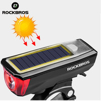 Wholesale solar bicycles for sale - Group buy USB Rechargeable Bike Light Headlight IPX4 Waterproof Solar Energy Bicycle Front Light with Bicycle Bell dB