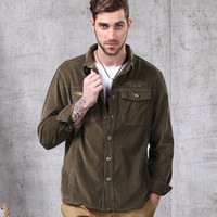 Wholesale Cotton Corduroy Men s Long Sleeve Lapel Army Shirt Male Outdoor Riding Climbing Hiking Sports Breathable Tactical Shirts Brown