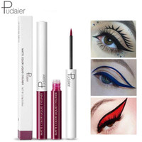 Wholesale blue white makeup resale online - PUDAIER COLORS Liquid Eyeliner Waterproof Matte Pigment Eyes Makeup for Eye shadow Cosmetics Red Blue White Eye Liner Pen Maquiagem