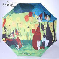 Wholesale fantastic paintings - fantastic oil painting sun uv protection rain foldable Umbrella rain women 3 Folding umbrella sun chinese kids