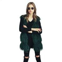 chalecos peludos al por mayor-Faux Fluffy Fur chaleco largo sin mangas chaqueta abrigo Furry largo peludo Shaggy Outwear chaleco de las mujeres abrigo más tamaño