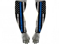 Wholesale cycling arms legs online - Newest logo mountain bike cycling Black USA American Flag Baseball Football Biker Police Lives Matters Cops Thin Blue Line FLAG Compression