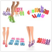 бинты детские оптовых-10 pair Fashion Fixed Styles Doll Shoes Bandage Bow High Heel Sandals for Dolls Accessories Toys