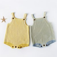 Wholesale sweater romper - Knitted romper 2018 hot selling INS spring autumn new INS style kids sleeveless Color collision braces knitted sweater high quality jumpsuit