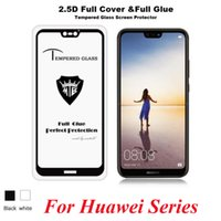 Wholesale Huawei P - 5D Full Glue Tempered Glass Protector For Huawei Y7 Prime 2018 Y6 Y9 Nova 2 Plus Lite P Smart 3D Coverage Screen Protector Film
