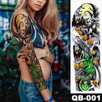 фальшивая рука хэллоуина оптовых-New 1 Piece Temporary Tattoo Sticker Skull Pumpkin halloween Tattoo with Arm Body Art Big Sleeve Large Fake Sticker