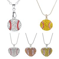 Wholesale wholesale rhinestone costume jewelry - Charm Rhinestone Baseball Necklace Softball Pendant Necklace Love Heart Sweater Jewelry Accessories Party Favor Gifts HH7-848