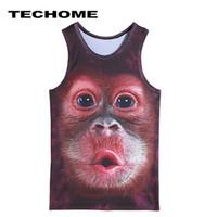 chaleco tigre arriba al por mayor-Al por mayor- 2017 Brand Clothing Men Summer 3D chalecos chaleco Animal, orangután, tigre, lobo de dibujos animados de impresión Camisole Moda Punk Tank Tops