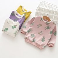 Wholesale t shirts lace wholesale printing - spring fall girl clothing Girls Kids Long Sleeve lace O-neck flower print all match t shirt girl kid 100% cotton comfortable t shirt