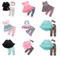 Wholesale spring school outfits resale online - Baby Girls Back to School Outfits Designs Tops Pants Headbands Scarfs Bunny Striped Unicorn Flora Big Sisiter Kids Clothing Sets BY0373