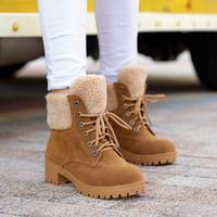 çizmeler boyutu 43 bayan toptan satış-Kadın Peluş Yastıklı Thich Topuk Yüksek Topuklu Ayak Bileği Çizmeler Ayakkabı İngiltere Lady Lace Up Kış Sıcak Kısa Martin Çizmeler Boyutu 34-43