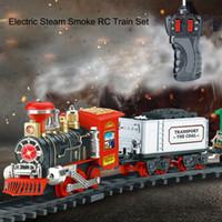 ingrosso bambini auto giocattolo elettrico-Radio-Controlled Anti-stress Bambini Boy Remote Control Conveyance Car Electric Steam Smoke RC Train Set Modello Fun Toy Kid Gift