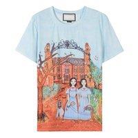 ingrosso torretta della maglietta-Marchio Stesso stile Magliette Donna 2018 Blue Dogs Ragazze Torre Stampa maniche corte T-shirt da donna M0080
