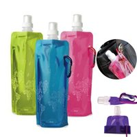 Wholesale Good Bottled Water - Good quality 480ml Portable Foldable Water Bottle Ice Bag Running Outdoor Sport Camping Hiking Random Color