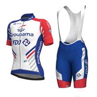 Wholesale fdj team clothing online - 2018 FDJ team Cycling Short Sleeves jersey bib shorts sets cycling clothing breathable outdoor mountain bike sportswear Y