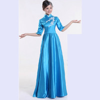 Wholesale performance clothing for singers for sale - National Costume Chorus Performance Costumes Yangko Dance Dress Female Long Choral Service Stage Clothing for Singer Color