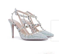 Wholesale heel diamond charm resale online - 2019 New Style Sliver Diamonds Fashion Thick Ankle Wedding Shoes High Heels Party Prom Bride Shoes