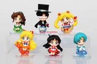 anime de la luna del marinero al por mayor-6 unids / set Anime Sailor Moon Marte Júpiter Venus Mercurio Llaveros Figuras de Acción Juguetes Muñecas JUGUETES