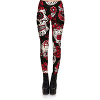 Wholesale trousers black flowers - Hot Sell Skull Leggings Women 'S Skull &Flower Black Leggings Digital Print Trousers 7 Color Skull Woman Stretch Pants Plus Size