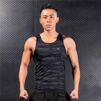 nuevo chaleco de gimnasia al por mayor-Nuevo Summer Running Sport Vest Camisa de compresión sin mangas de los hombres Camisas de gimnasia de secado rápido Culturismo Ropa Fitness Tank Tops