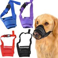 mascara de perro que ladra al por mayor-Perro de mascota ajustable máscara Bark perro bozal Anti Stop Bite Barking Masticar máscara de malla pequeña formación envío gratuito