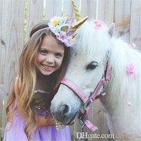 Wholesale hair for baby girl artificial online - Girls Children unicorn Hair band crown Hair accessories Elastic Cute Hairbands brithday hat Head Bands for Baby Girls KHA726