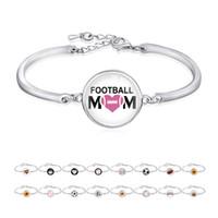 silver soccer bracelets großhandel-Freundschaft Geschenke versilbert Sport Open Armreif Fußball Baseball Volleyball Fußball Mom Armband für Frauen